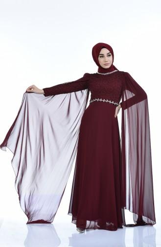 فساتين سهرة بتصميم اسلامي ارجواني داكن 5010-02
