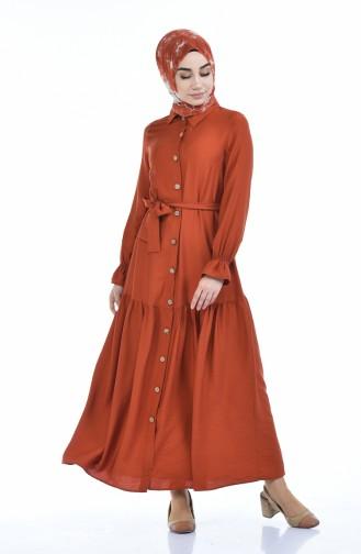 Gerafftes Kleid aus Aerobin Stoff 5811-01 Ziegelrot 5811-01