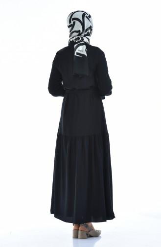 Gerafftes Kleid aus Aerobin Stoff 5811-02 Schwarz 5811-02