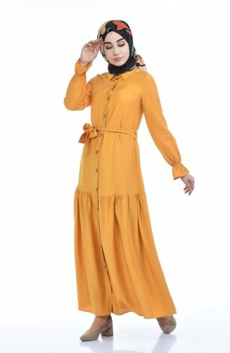 Robe Taille Froncée Tissu Aerobin 5811-03 Moutarde 5811-03