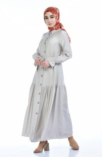 Gerafftes Kleid aus Aerobin Stoff 5811-04 Beige 5811-04