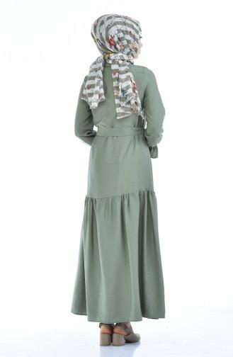 Robe Taille Froncée Tissu Aerobin 5811-05 Vert Khaki Clair 5811-05