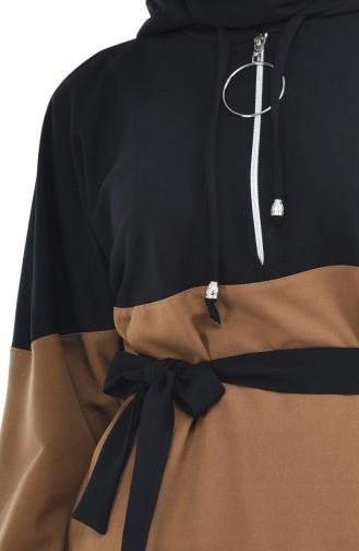 Tunika mit Band und Reissverschluss 70002-01 Schwarz Braun 70002-01