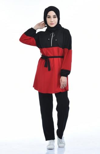 Tunika mit Band und Reissverschluss  70002-02 Schwarz Rot 70002-02