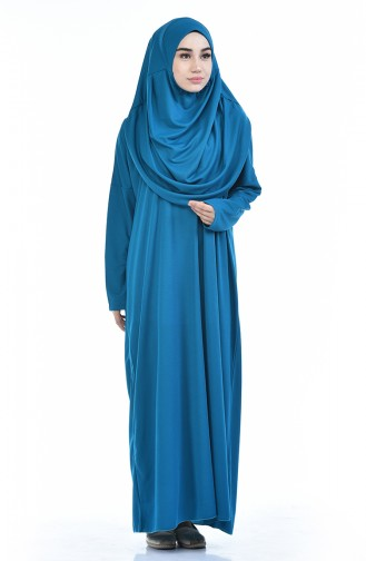 Sefamerve Çantalı Pratik Namaz Elbisesi 0900-10 İndigo