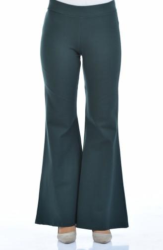 Gabardin İspanyol Paça Pantolon 2300-04 Yeşil
