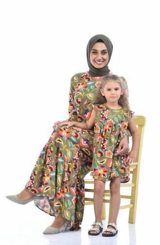 Desenli Viskon Anne Kız Kombin Elbise 1015-01 Haki