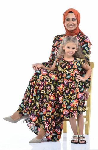 Robe Viscose a Motifs Pour Enfant 1018-01 Noir 1018-01