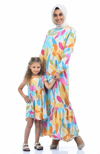 Robe Viscose a Motifs Pour Enfant 1022-01 Beige Moutarde 1022-01