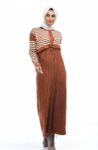 Robe Tricot a Rayures 8028-03 Tabac 8028-03
