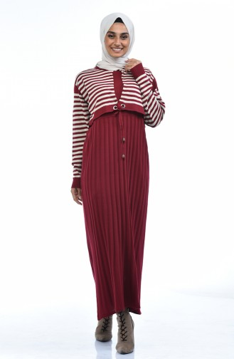 Triko Çizgili Elbise 8028-05 Bordo
