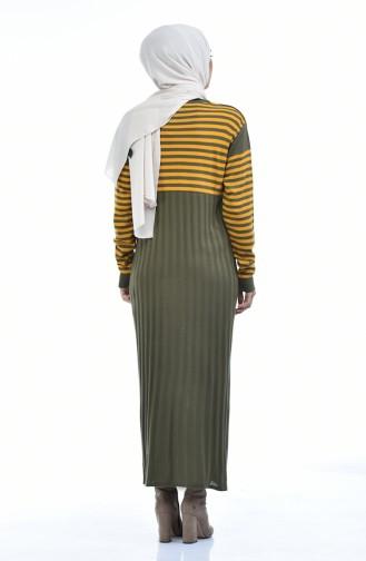 Triko Çizgili Elbise 8028-06 Haki