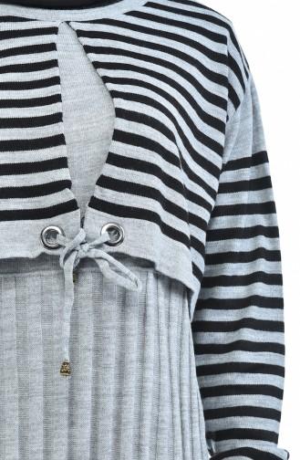 Trikot Gestreiftes Kleid  8028-07 Grau 8028-07