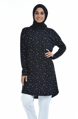 Desenli Tunik 1049-01 Siyah