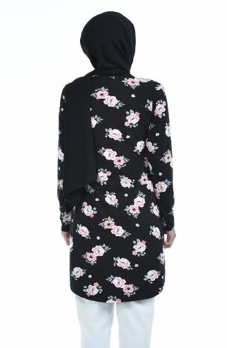 Çiçek Desenli Tunik 1053-01 Siyah 1053-01