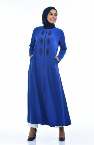 Abaya a Fermeture 0084-04 Bleu Roi 0084-04