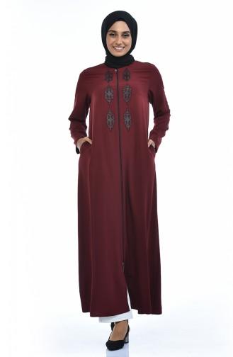 Steiniges Abaya mit Reissverschluss 0084-05 Dunkel Weinrot 0084-05