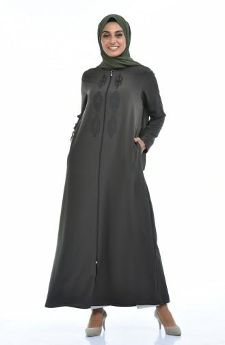 Steiniges Abaya mit Reissverschluss 0084-06 Khaki Grün 0084-06