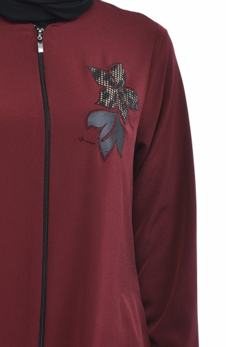 0085-04 عباءة مزينة بزهرة أحمر كلاريت داكن 0085-04