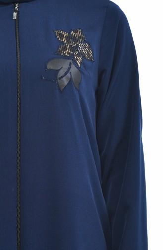 Abaya a Fermeture 0085-05 Bleu Marine 0085-05