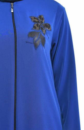 0085-06 عباءة مزينة بزهرة أزرق 0085-06