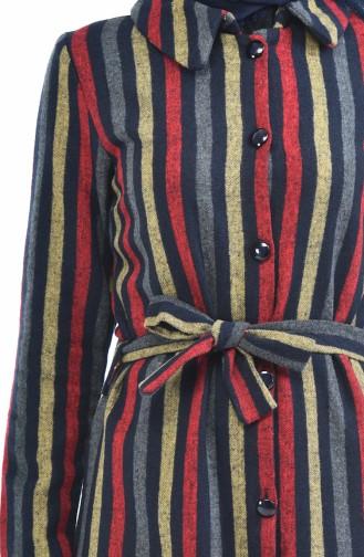 Çizgili Uzun Kaşe Kap 5000-03 Lacivert Kırmızı