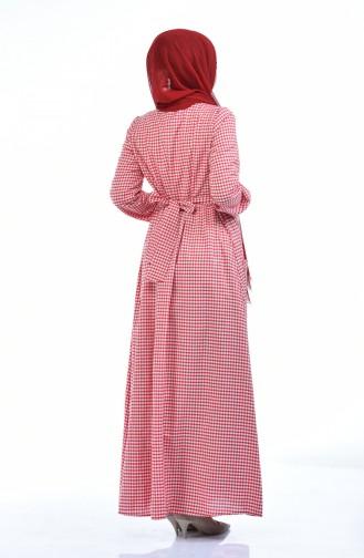Geknöpftes Kleid 1284-02 Rot 1284-02