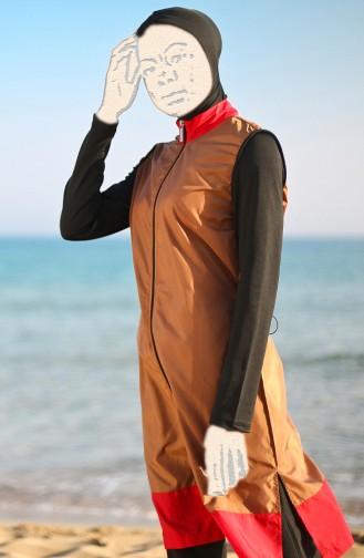 Patchwork Hijab Badeanzug  19106-01 Senf Schwarz 19106-01