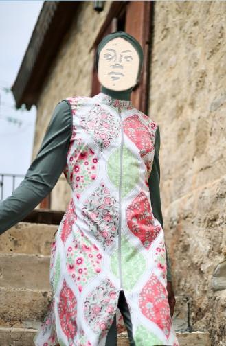 Gemusterter Hijab Badeanzug  1994-01 Khaki 1994-01