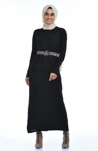 Trikot Fledermausarmel Kleid  8010-03 Schwarz 8010-03