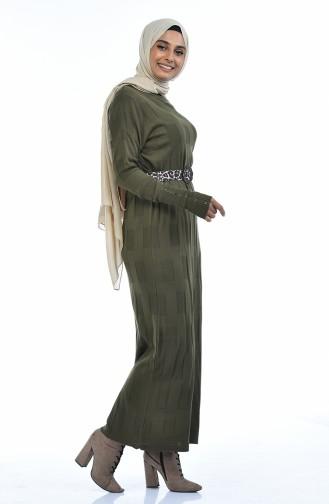 Triko Yarasa Kol Elbise 8010-09 Haki