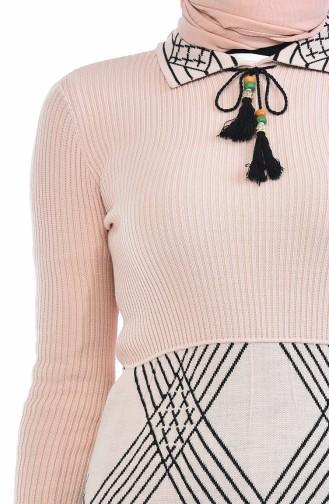 Trikot Kleid mit Quasten 8027-06 Puder 8027-06