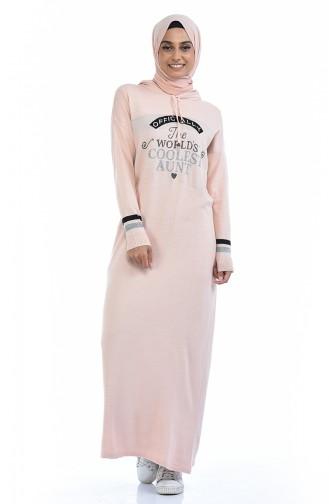 Trikot Kleid mit Kapuze 8030-01 Puder 8030-01