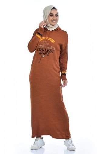 Triko Kapüşonlu Elbise 8030-02 Taba