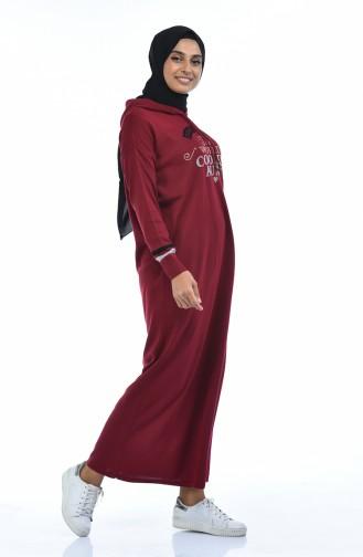 Trikot Kleid mit Kapuze 8030-05 Weinrot 8030-05