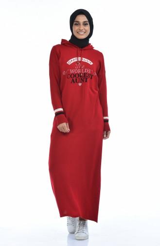 Trikot Kleid mit Kapuze 8030-10 Rot 8030-10