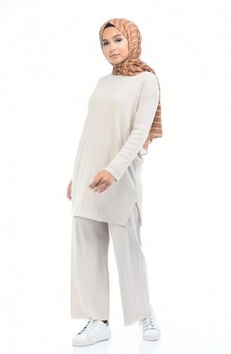 Ensemble Deux Pieces Tunique Pantalon Tricot 2210-04 Beige 2210-04