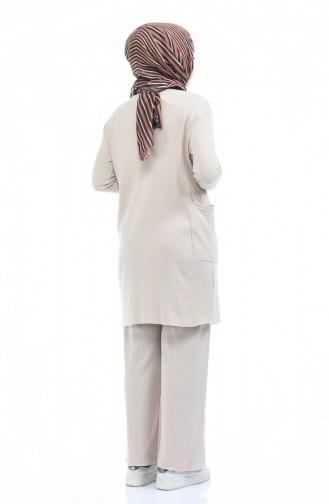Triko Cepli Tunik Pantolon İkili Takım 2216-04 Bej