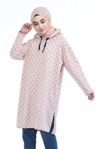 Desenli Kapüşonlu Sweatshirt 9031-02 Pudra