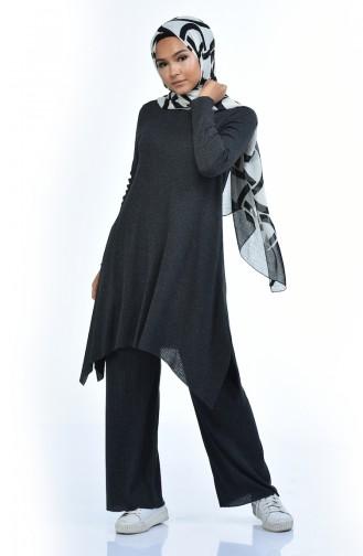 Ensemble Deux Pieces Tunique Pantalon Tricot 2209-02 Antracite 2209-02