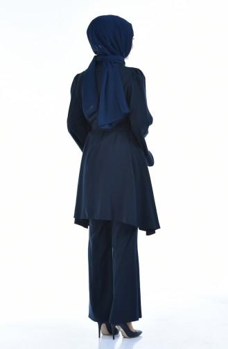 Aerobin Kuşaklı Tunik Pantolon İkili Takım 0218B-02 Lacivert 0218B-02