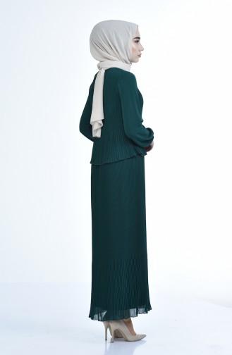 Robe Plissée 16491-04  Vert emeraude 16491-04