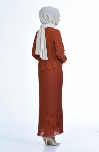 فستان قرميدي 16491-06