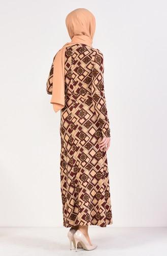 Fermuar Detaylı Kuşaklı Elbise 9193-02 Kahverengi Bordo