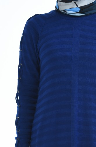 Tunique Tricot Détail Manches 8049-02 Bleu Roi 8049-02