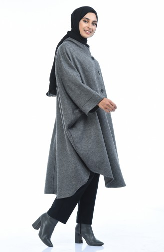 Buttoned Long Poncho Gray 8001-02