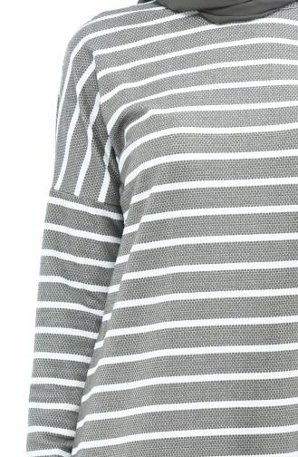 Asymmetrische Tunika 2901-04 Khaki Weiss 2901-04