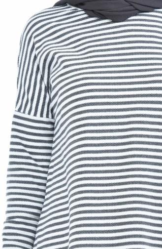 Asymmetrische Tunika 2901-06 Grau Weiss 2901-06
