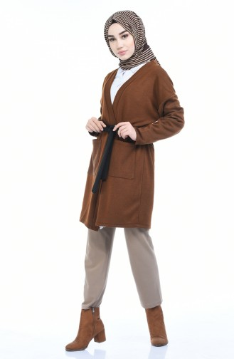 Strickajcke mit Tasche und Band 0729-04 Zimtfarbig 0729-04