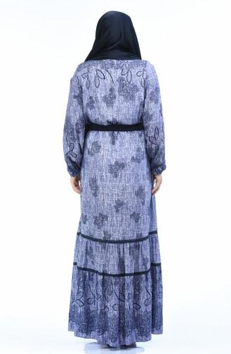 Büyük Beden Kolu Lastikli Elbise 8Y3841701-04 Mor
